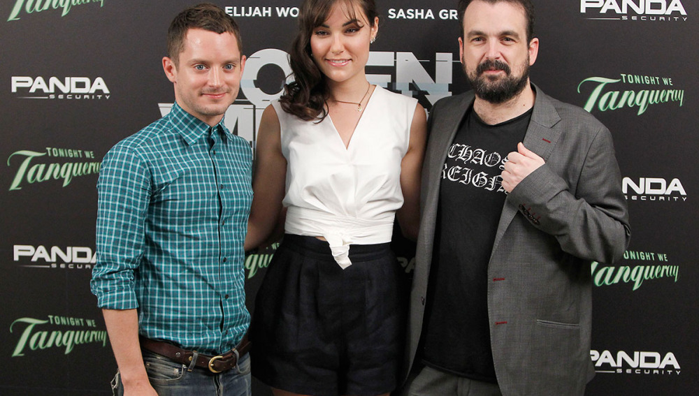 El director con Sasha Grey y Elijah Wood
