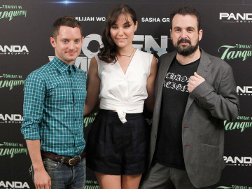 El director con Sasha Grey y Elijah Wood