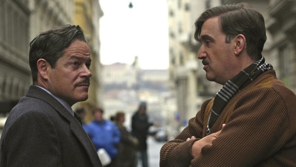 Javier Cámara y Jorge Sanz durante el rodaje de 'La Reina de España'