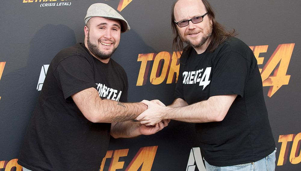 Santiago Segura y Kiko Rivera en la presentación de Torrente 4